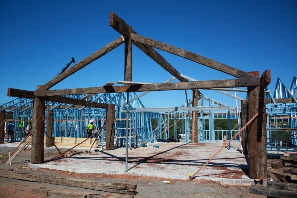 During construction showing timber and steel frame home in Kuranda