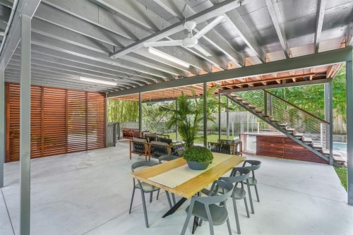 Space under modern queenslander for entertainment and kids area