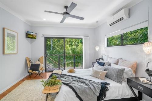 Master bedroom in Cairns custom designed home.